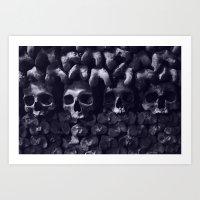 Skulls - Paris Catacombs, tinted version Art Print