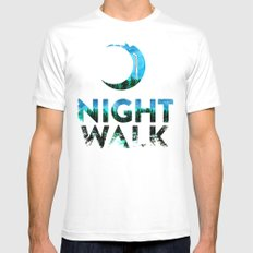 Night Walk SMALL White Mens Fitted Tee
