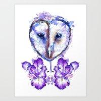 Owl And Irises Art Print