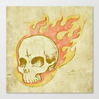 Flaming Skull Canvas Print