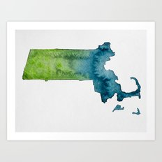 Massachusetts Watercolor Art Print
