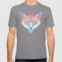 Pastel Fox Pattern Mens Fitted Tee Tri-Grey SMALL