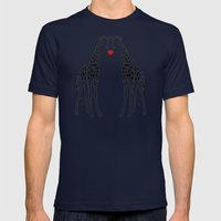 Giraffe Love Mens Fitted Tee Navy SMALL