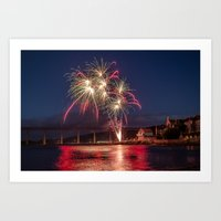 Fireworks over North Queensferry Art Print