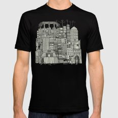 dystopian toile mono SMALL Mens Fitted Tee Black