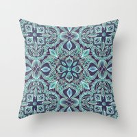 Chalkboard Floral Pattern in Teal & Navy Throw Pillow