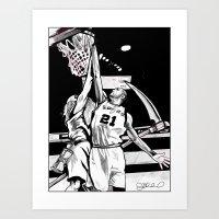 Tim Duncan vs. Father Time Art Print