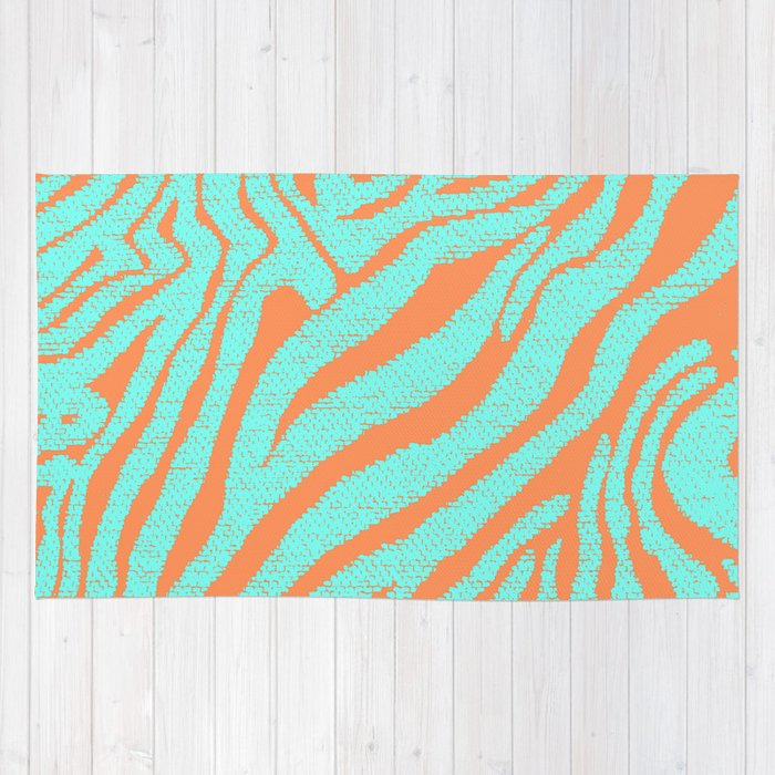 hipster turquoise orange zebra stripes pattern rug by girly road society6. Black Bedroom Furniture Sets. Home Design Ideas