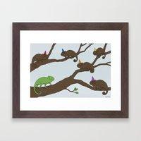 Chameleon Surprise Party  Framed Art Print