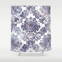 Blueberry Damask Shower Curtain