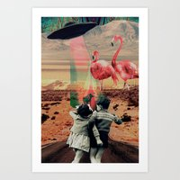 Pink Flamingos Art Print