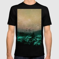 Night Sky Flowers SMALL Black Mens Fitted Tee