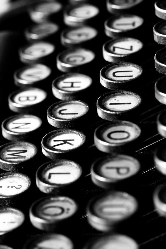 Typewriter keys black and white Art Print