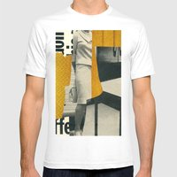 Yellow Mens Fitted Tee White SMALL