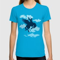 Sky Rodeo Womens Fitted Tee Teal SMALL