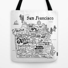San Francisco Map Illustration Tote Bag