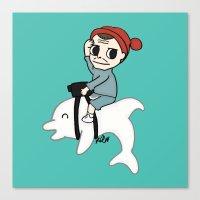 B Team Albino Dolphin Sc… Canvas Print