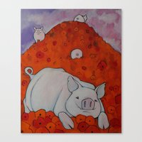 Pigs in Poppies Canvas Print