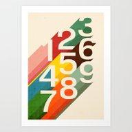 Art Print featuring Retro Numbers by Budi Kwan