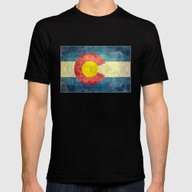Colorado State Flag Mens Fitted Tee Black SMALL