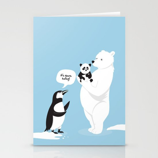 How little Pandas are born Stationery Card