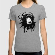 Monkey Business - White Womens Fitted Tee Tri-Grey LARGE