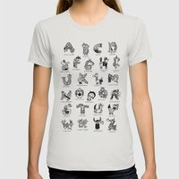 A To Z Animals Womens Fitted Tee Silver SMALL