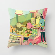eating at johnny´s Throw Pillow