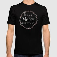 Merry Christmas SMALL Black Mens Fitted Tee