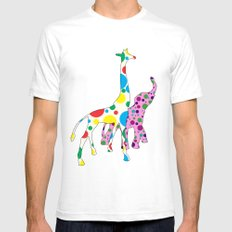 Cute Polka Dots Giraffe Elephant Design Mens Fitted Tee White SMALL