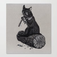 Folk Musician Cat Canvas Print