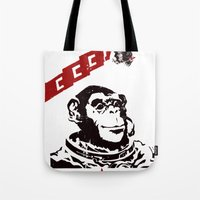 Soviet Space Monkey Tote Bag