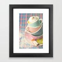 Teacup tower Framed Art Print