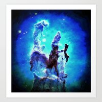 nebula Art Prints featuring Blue Pillars of Creation nEBULA  by 2sweet4words Designs