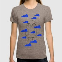 Blue Clouds Womens Fitted Tee Tri-Coffee SMALL