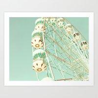 White ferris wheel on mint Art Print