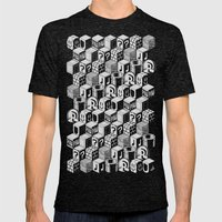 SUPER MARIO BLOCK-OUT! (White Edition) Mens Fitted Tee Tri-Black SMALL