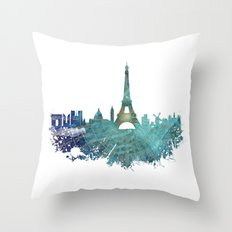Paris skyline wind rose Throw Pillow