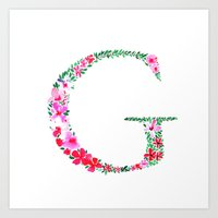 Floral Monogram Letter G Art Print