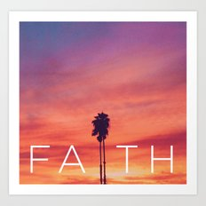 Palm Tree Faith - Sunset Art Print