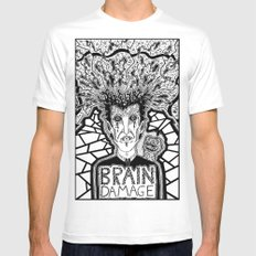 Brain Damage  White SMALL Mens Fitted Tee