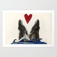 Whales in Love Art Print