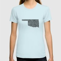 Typographic Oklahoma Womens Fitted Tee Light Blue SMALL