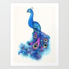 Watercolor Peacock Art Print