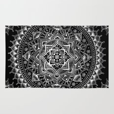 White Flower Mandala on Black Rug