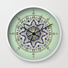 Heart Moon Star Mandala Wall Clock