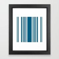Egyptian Blue and white stripes Framed Art Print