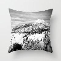 Snowy Mountain Peak Blac… Throw Pillow