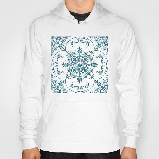 Decorative Pattern in Creme and Blue Hoody