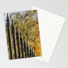 iron fence, yellow leaves Stationery Cards